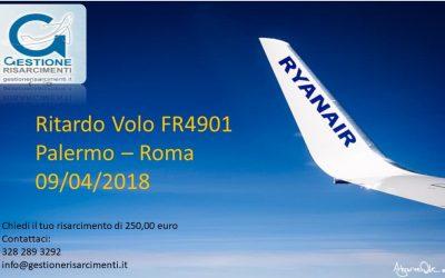Lunedì 09 Aprile 2018, ritardo volo Palermo – Roma