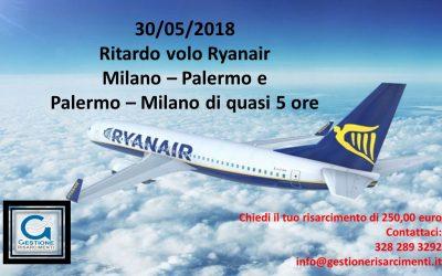 30 Maggio 2018 Volo Ryanair Milano – Palermo e ritorno con quasi 5 ore di ritardo